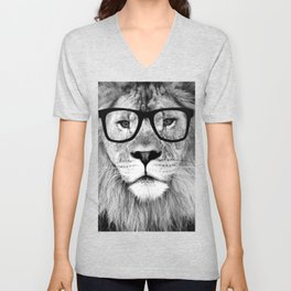 Hippest Lion with glasses - Black and white photograph Unisex V-Neck