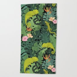 Chameleons And Salamanders In The Jungle Pattern Beach Towel