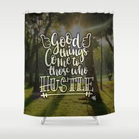 hustle Shower Curtains featuring Hustle! by Art4Anj