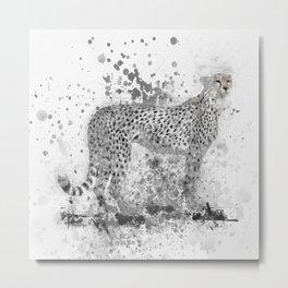 Cheetah in Black and White Metal Print