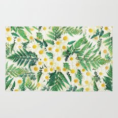 Textured Vintage Daisy and Fern Pattern  Rug