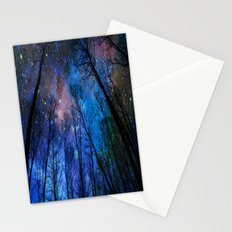 Black Trees Dark Blue Space Stationery Cards