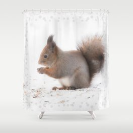 Squirrel And Lunch Pause Winter Scene #decor #society6 #buyart Shower Curtain