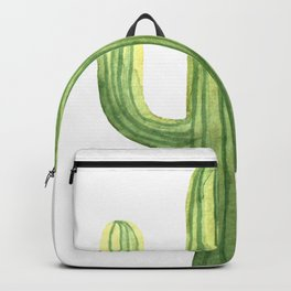 Simple Green Cactus on White Backpack