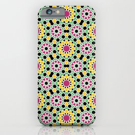 Moroccan flowers in Peacock Pink, Gold and light Neon Green iPhone Case