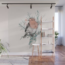 Robin on Birch Wall Mural