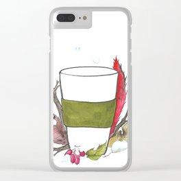 Tea break in winter Clear iPhone Case