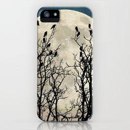 Black Birds Crow Raven Tree Moon Teal Blue Sky Art A541 iPhone Case