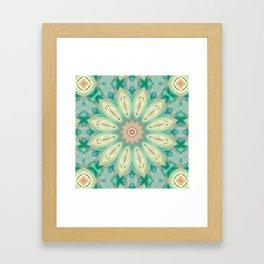 Daisy. Ornament bright turquoise . Framed Art Print