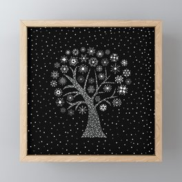 Frozen Tree with Snowflakes and Falling Snow black and white Framed Mini Art Print