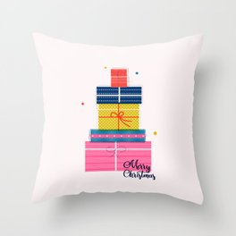 Pile of christmas presents Throw Pillow