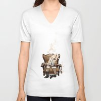 ghost in the shell V-neck T-shirts featuring The Ghost in the Shell by Peejay Catacutan