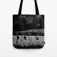 fireworks Tote Bags featuring Fireworks by Mr.Willow