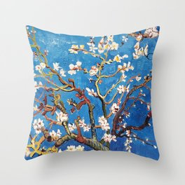 Van Gogh Branches of an Almond Tree in Blossom Throw Pillow