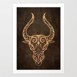 Vintage Rustic Taurus Zodiac Sign Art Print