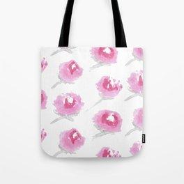 Pink Peony Watercolor Print Tote Bag
