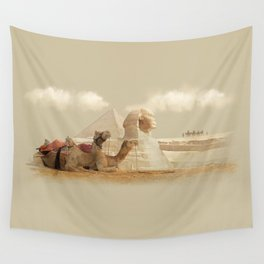 Egypt landscape with camels Wall Tapestry