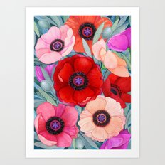 Poppy and Olive Watercolor  Art Print