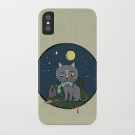 Cats love zombie meat! iPhone Case