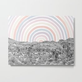 Happy Rainbow Rays // Scenic Desert Cactus Hill Landscape Watercolor Collage Dorm Room Decor Metal Print