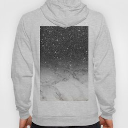 Stylish faux black glitter ombre white marble pattern Hoody