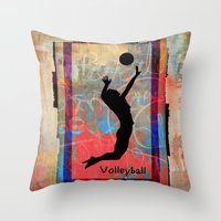 volleyball Throw Pillows featuring Volleyball Girl by beeczarcardsandgifts