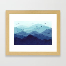 Rolling mountains fade into the mist. Watercolor. Framed Art Print