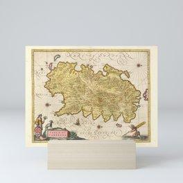 Vintage Sardinia Italy Map (1665) Mini Art Print