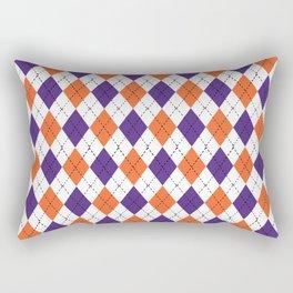 Argyle orange and purple pattern clemson football college university alumni varsity team fan Rectangular Pillow