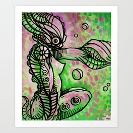 """The Ocean Temptress"" (Watermelon) Art Print"
