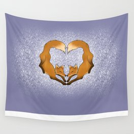 Heartful Foxes Wall Tapestry