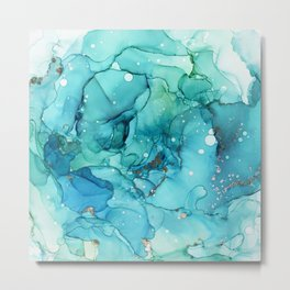 Teal Chrome Flowing Abstract Ink Metal Print