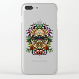 Pitbull Sugar Skull - Dias De Los Muertos Clear iPhone Case