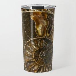 Earth treasures - Brown and yellow ammonite Travel Mug