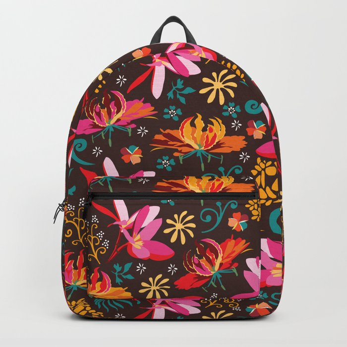Tropical flower pattern Backpack