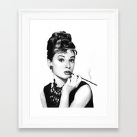 hepburn Framed Art Prints featuring Audrey Hepburn Pencil drawing by Thubakabra