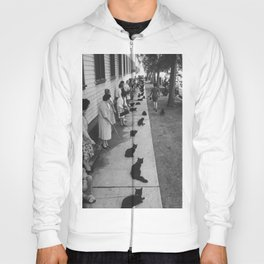 Black Cats Auditioning in Hollywood black and white photograph Hoody