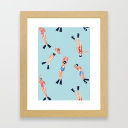 swimmers with fins pattern Framed Art Print