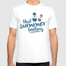 Ice cream pattern - light blue MEDIUM White Mens Fitted Tee
