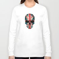 british flag Long Sleeve T-shirts featuring British Flag Skull on Black by Jeff Bartels