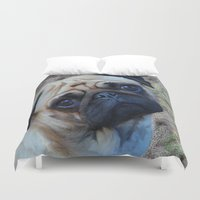 pug Duvet Covers featuring Pug by Crayle Vanest