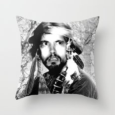 Jason Wing as Hania Spirit warrior B&W Throw Pillow