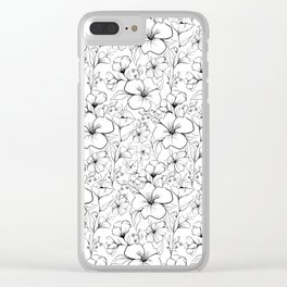 Floral sketch pattern Clear iPhone Case