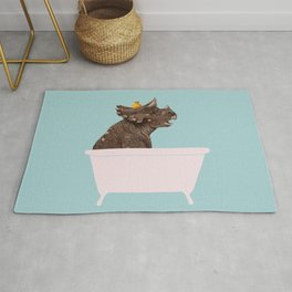 Playful Triceratop in Bathtub Rug