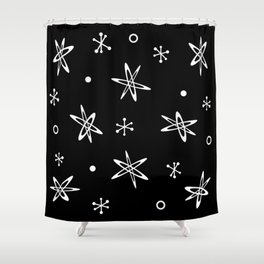Atomic Era Space Age Black Shower Curtain