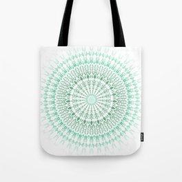 Mint White Geometric Mandala Tote Bag