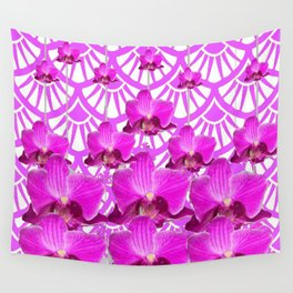 PURPLE ART DECO PATTERN ORCHIDS PATTERN ABSTRACT Wall Tapestry