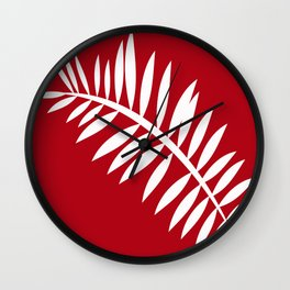 PALM LEAF RED AND WHITE PATTERN Wall Clock