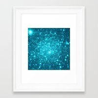 turquoise Framed Art Prints featuring Turquoise Teal Sparkle Stars by WhimsyRomance&Fun