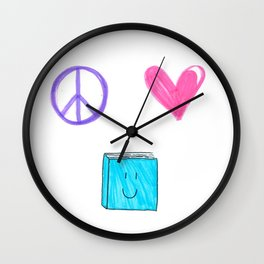 peace love and books Wall Clock